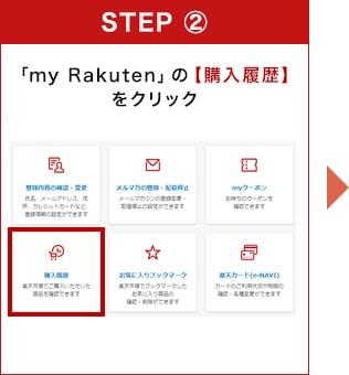 「my Rakuten」の【購入履歴】をクリック