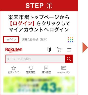 楽天市場トップページから【ログイン】をクリックしてマイアカウントへログイン